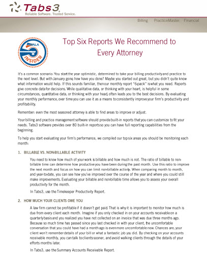 Tabs3: Top Six Reports We Recommend to E...
