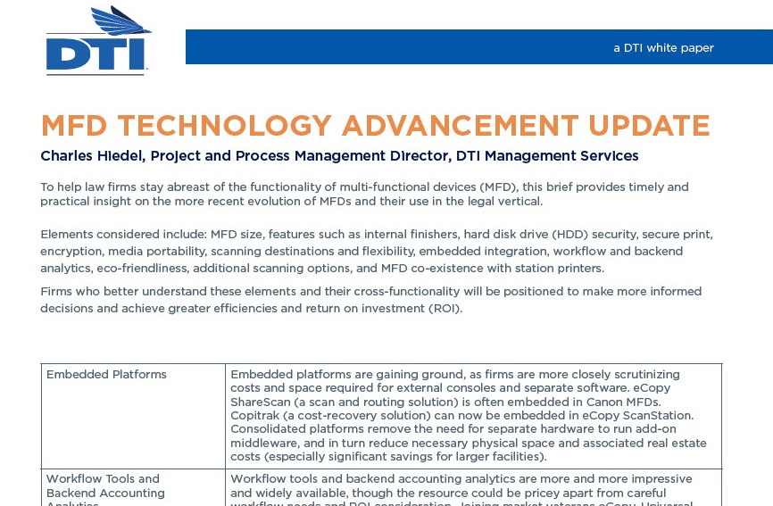 MFD Technology Advancement Update
