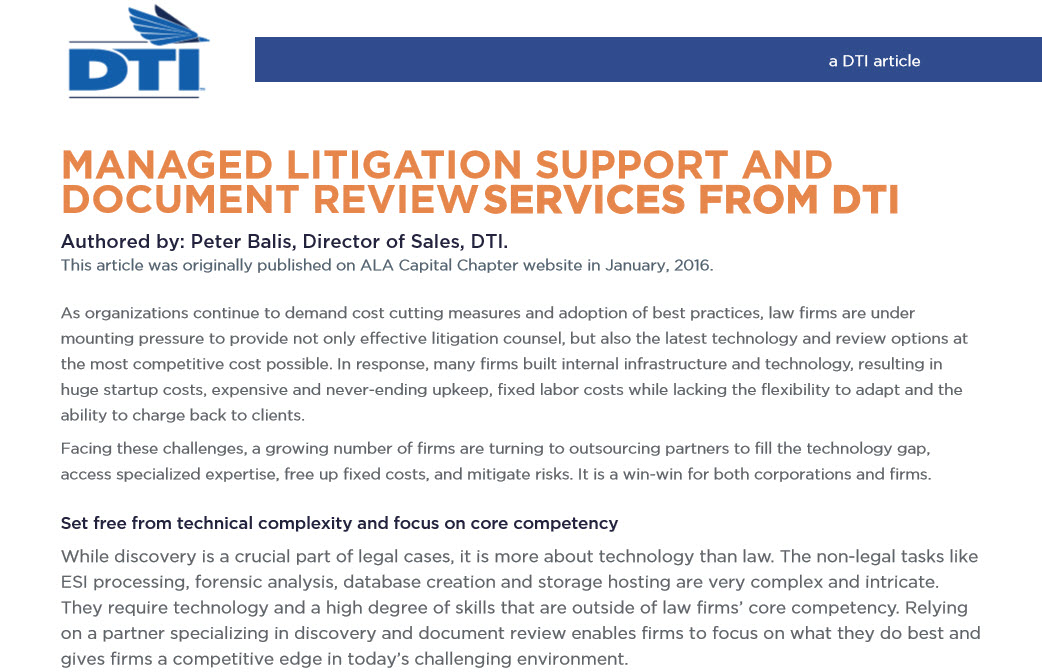 Article: Managed Litigation Support and...