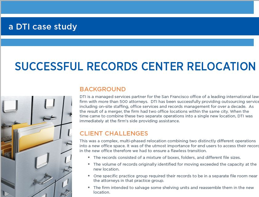 SUCCESSFUL RECORDS CENTER RELOCATION