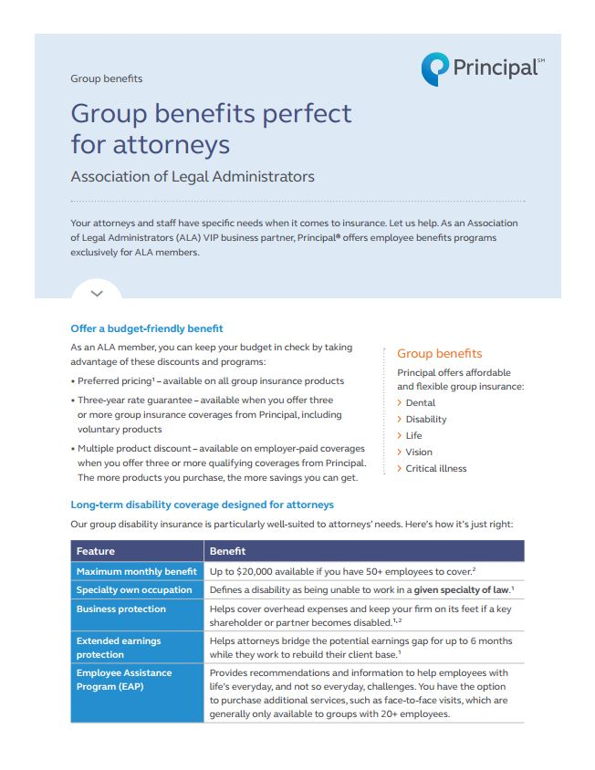 Principal & ALA: Group benefits perf...
