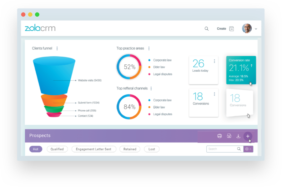 Zola CRM integrates with Zola Suite practice management software